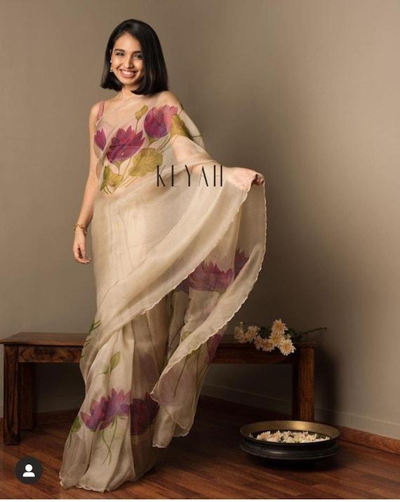 Multi Color Bollywood Style Designer Organza Silk Saree Party Wear Digital Printed Organza Silk Saree Exclusive Sari