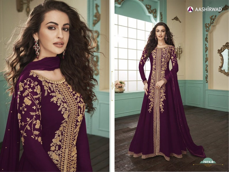 wine colore deaigner party wear long dress embroidery work pakistani style wedding wear gown bollywood style gown