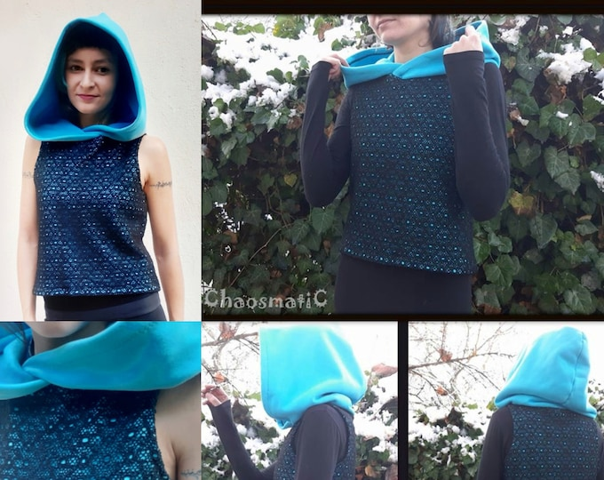 Sleeveless Woman Blouze With Big Medieval Hood/Cotton Futer and Lace casual/elegant,warm and cozy.handmade, streampunk clothing,blue black