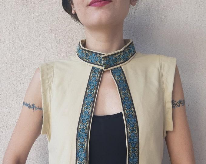Beige Victorian open Vest/blue/oriental Mandala Lace/toggle/closed short neck/sleeves/elegant formal/festival/rave clothing/handmade