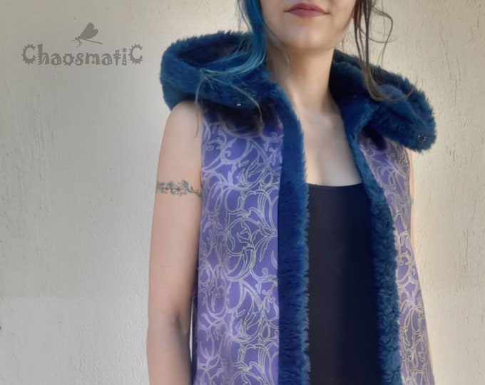 Purple magic woman Open vest /winter/ warm/golden leaf pattern/blue synthetic fur/high neck/buckle closure/festival/rave clothing/ handmade