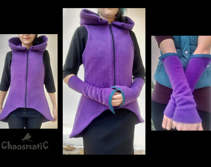 Double Fleece Vest & Arm warmers SET, warm,cozy/woman/Black/Purple/petrol/festival/rave/clothing/asymetric/pointy/pixie/witch/handmade