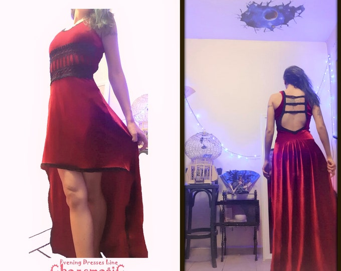 Red Velvet Evening Dress /Asymmetrical/Thick Lace/Velvet Edgings/Scoop Neck/ Open Back/Tango/Tailored/handmade/Elegant/Formal/celebration.