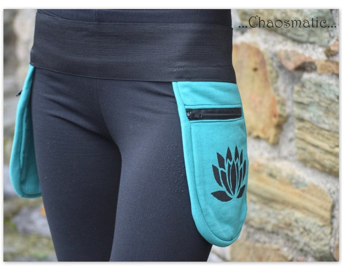 Double Lotus/ Utility waist bag/ hip belt /festival/handmade/hand-dyed print on Cotton/multicolor