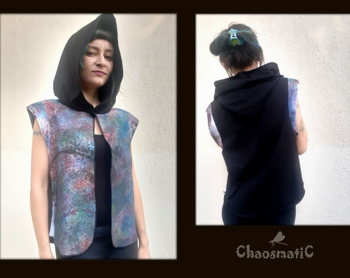 HandDyed Cotton Vest/Nebula/Multicolor universe/open vest/big hood/black white cotton/waterbased colors/steet/Summer/art clothing/handmade