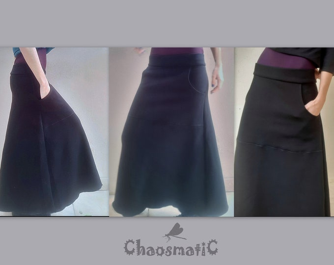 Cotton Futer maxi skirt/big pocket/warm/woman/black/minimal/athletic/casual/winter clothing/warrior style/multicolor/streetwear/handmade