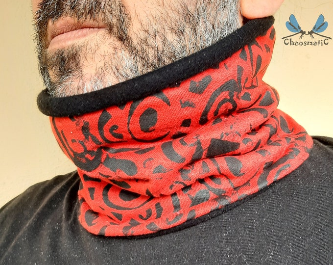 Winter Neck Buff,e colors, hand-dyed, psychedelic print, handmade,cotton futer and Fleece,warm,neck,buff
