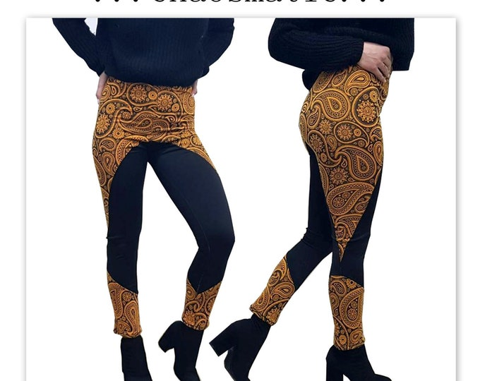 FlowerDrop Leggings Handmade EXCLUSIVE Leggings knit textile orange festival mandala floral black Polyesther ethnic  boho vivid apparel