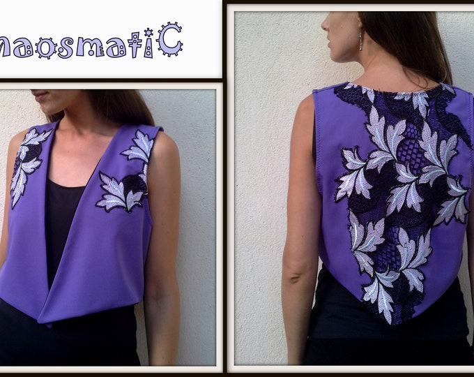 Purple short open summer  vest/floral patch/pointy ends/festival clothing/rave clothing/handmade/psychedelic /artistic clothing/art/knit