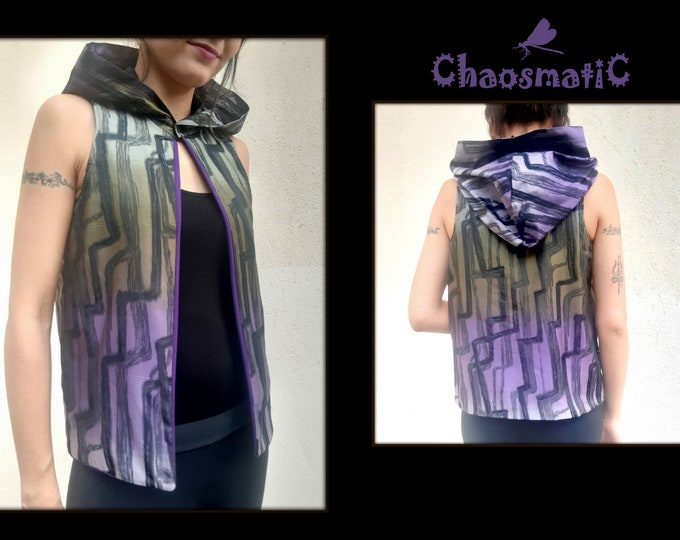 Purple Green hooded/Woman/open Vest/Saten/abstract pattern/iridecent/purple cotton futer in/all weather/artistic  tailored clothing/handmade
