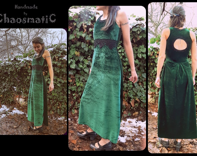 Green Velvet Vintage Victorian style Evening maxi Dress with cotton black lace drop pattern retro fashion unique item handmade with love