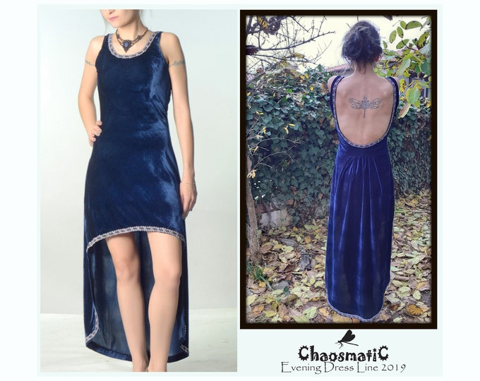 Blue Azurite/handmade/Velvet/evening dress/silver/embroidery/edgings/asymmetrical/tail/formal/princess/style/open back/open neck/sleevless