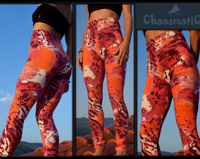 Yoga Leggings/orange/red/fouksia/abstrakt/animal print/Fitness Overall/Body Sport Wear/festival wear/woman/rave clothing/handmade
