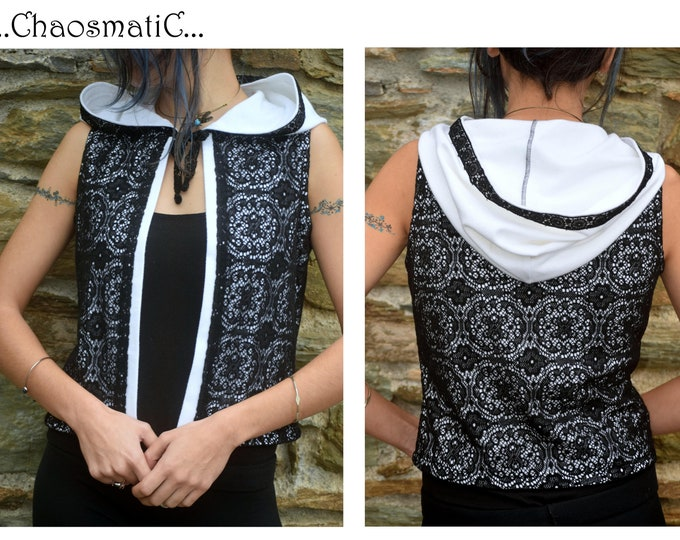 Knit Vest/woman/festival/rave clothing/elegant/black knit floral lace/whire cotton futer/big hood/blue knot of life/psychedelic/hadmade