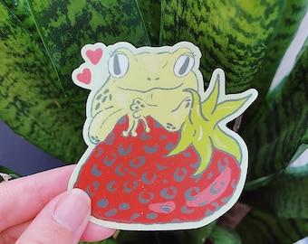 Frog + Strawberry Berry - Vinyl Sticker / Decal