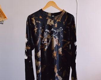 Acid Wash Shirt, Longsleeve Shirt, Acid wash, bleach dye, bleach, grunge shirt, streetwear, handmade shirts