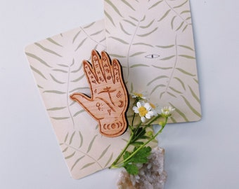 Palmistry Hand - Wooden Pin / Brooch