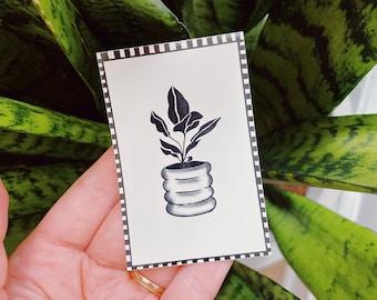 Plant Sticker, Houseplant sticker, Vinyl Sticker, Decal, Water bottle, Laptop Sticker, Weatherproof Sticker, Retro Sticker, Checkerboard