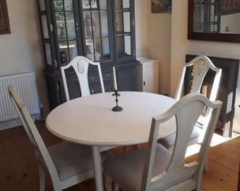 f5ef7ebbdad8 White shabby chic dining room table and chairs