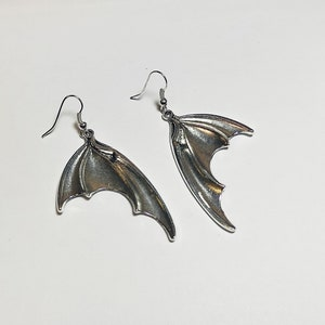 Bat Wing Earrings in White Brass ~ Silver-toned bat or dragon wings with surgical steel ear wires