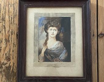 Small Vintage Framed Water Colour Pastels Portrait