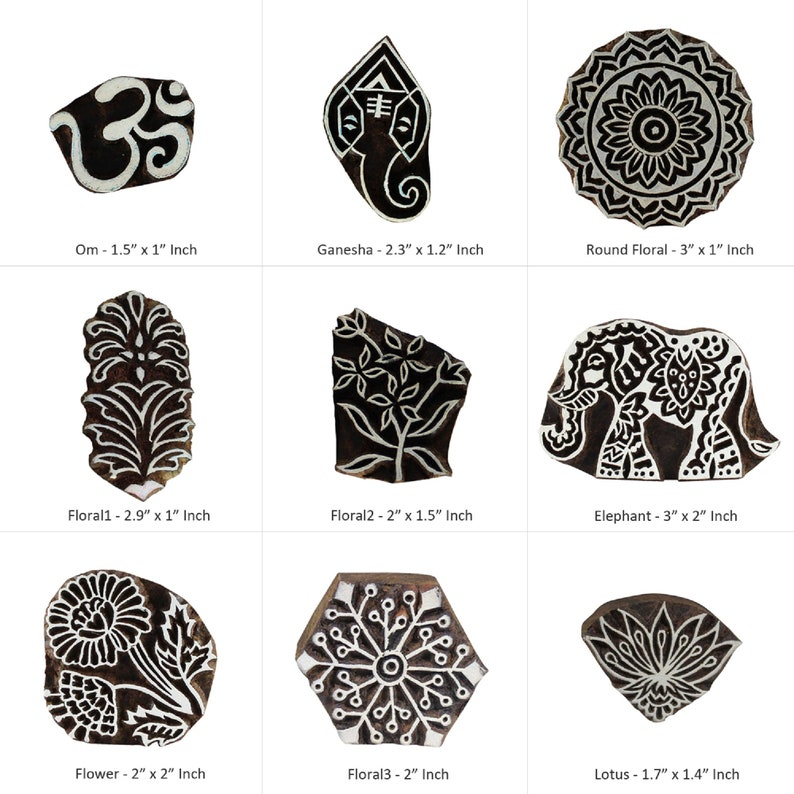 "Wooden Stamp Textile Printing Block Floral Hand Carved Block Print 5/"" Diameter"