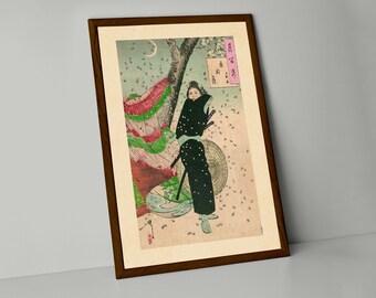 Japanese Reproduction Woodblock Print  Samurai Warrior JP3 on A4 Parchment Paper