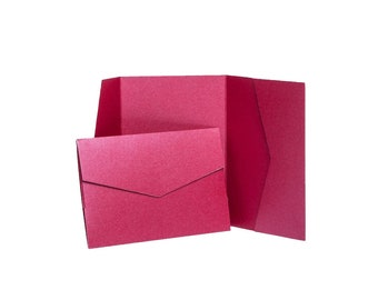 Bright Red Pearlescent Pocketfold Invites with envelopes Wedding Invitations