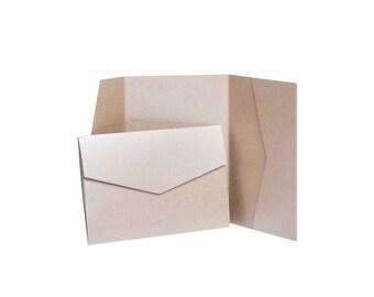 POCKETFOLD Eco Kraft Natural Recycled Pocket invitations with envelopes