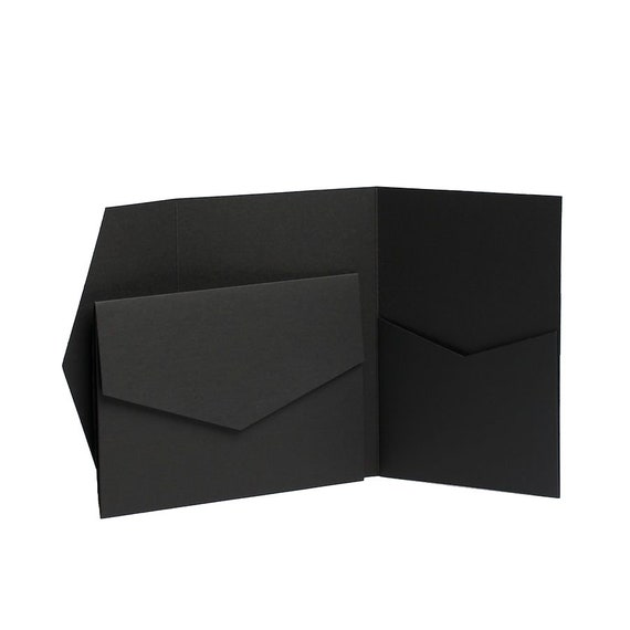 Black Pocket fold Invites Pocketfold Cards Wedding Stationery Wallet Invitation