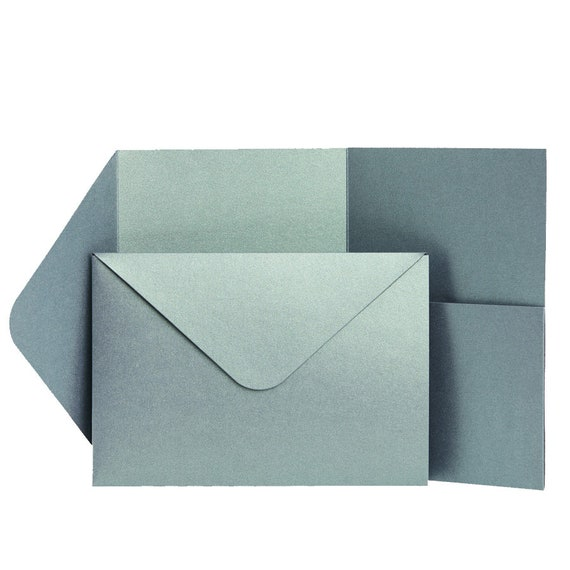 Wedding Baby Blue Pearlescent Wallet Invitations WEDDING Pocketfold Invites