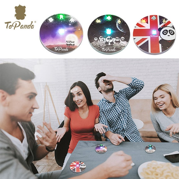 2 pcs 1st in market Pad Mat Bar Party Gift for him Gift for her Custom Engraving ToPanda LED Cup Holder Coaster with table Game 18 styles