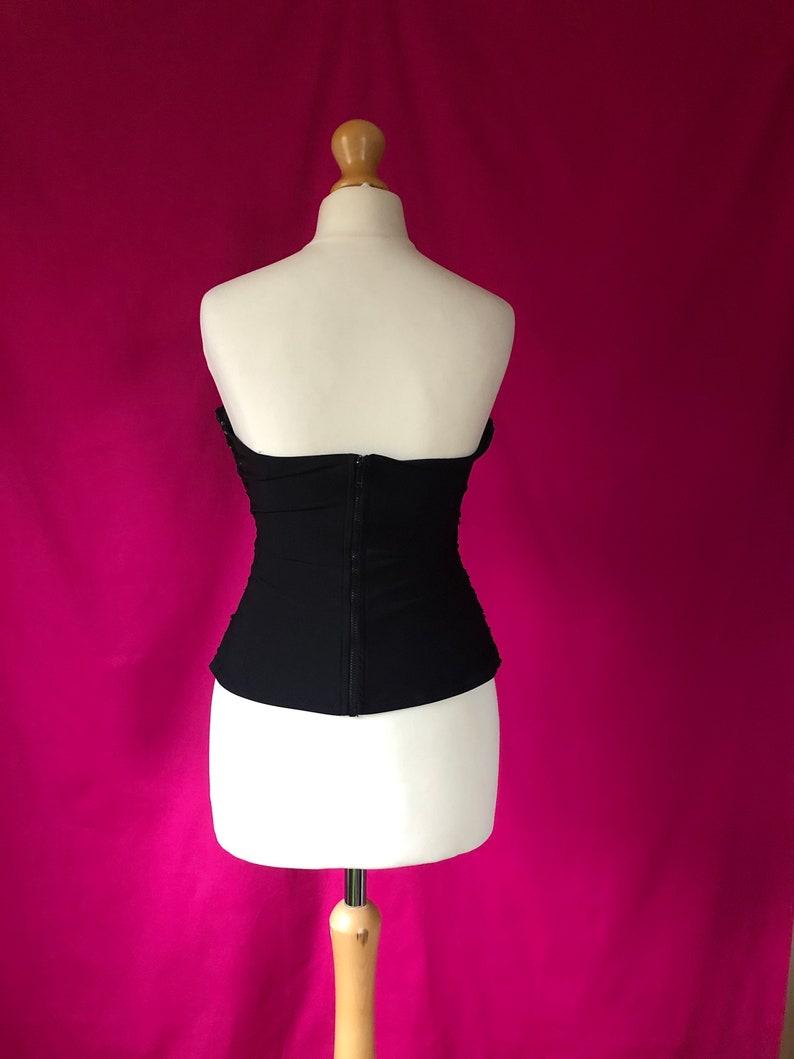 90s00s VintageRetro Black Corseted Sequin Boob TubeTube Top