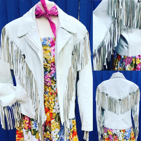 80s Vintage White Leather Biker Jacket with Fringe