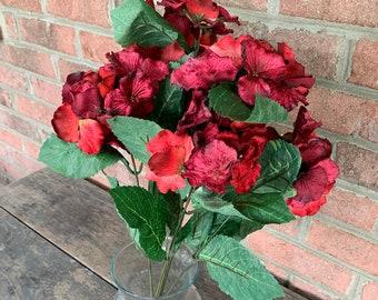 19 Red Velvet Hydrangea Bush x7 Burgundy Christmas Artificial Fake Flowers Floral Arrangement Supplies Home Table Tree Decor Ornament