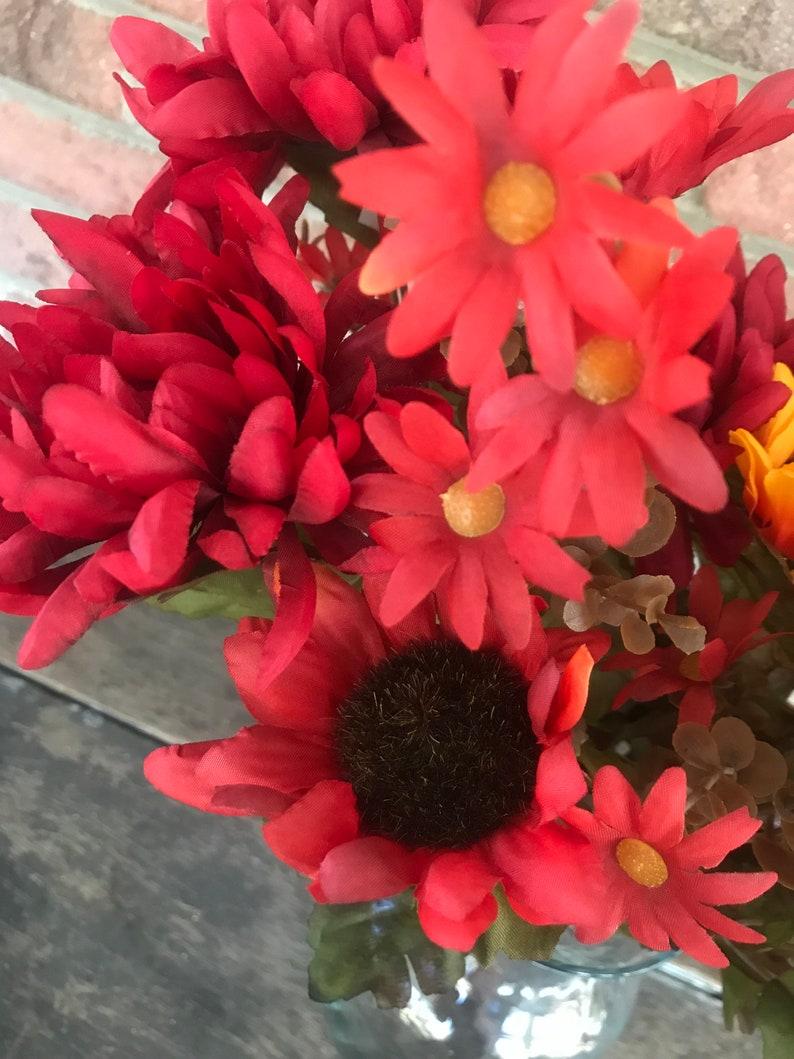 18 Mum Sunflower Bush x9 Orange Burgundy Red Artificial Fake Silk Fall Arrangement Floral Flowers Wreath Florist Supplies Autumn Stem