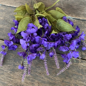 Silk Flowers 5 Delphinium Blossoms in Purple Accented With Khaki Beige Artificial Flowers Flower Crown Scrapbooking Hair Accessories