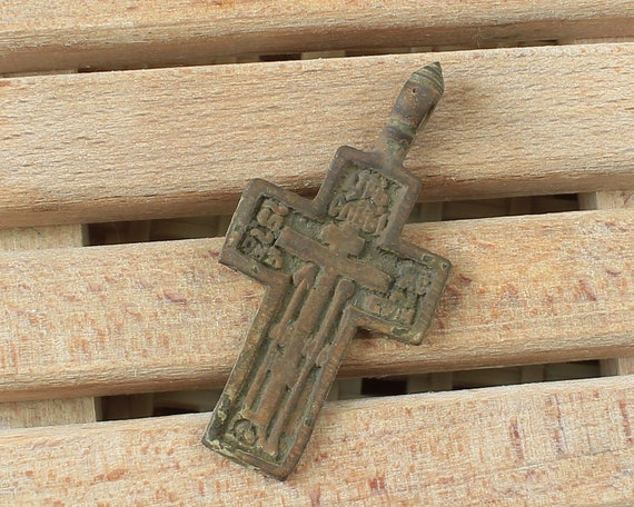 Russian Orthodox copper Cross 17 to 19 C , The text on the back of the  cross is Psalm 67, Psalm of David, gift, wearable  0171