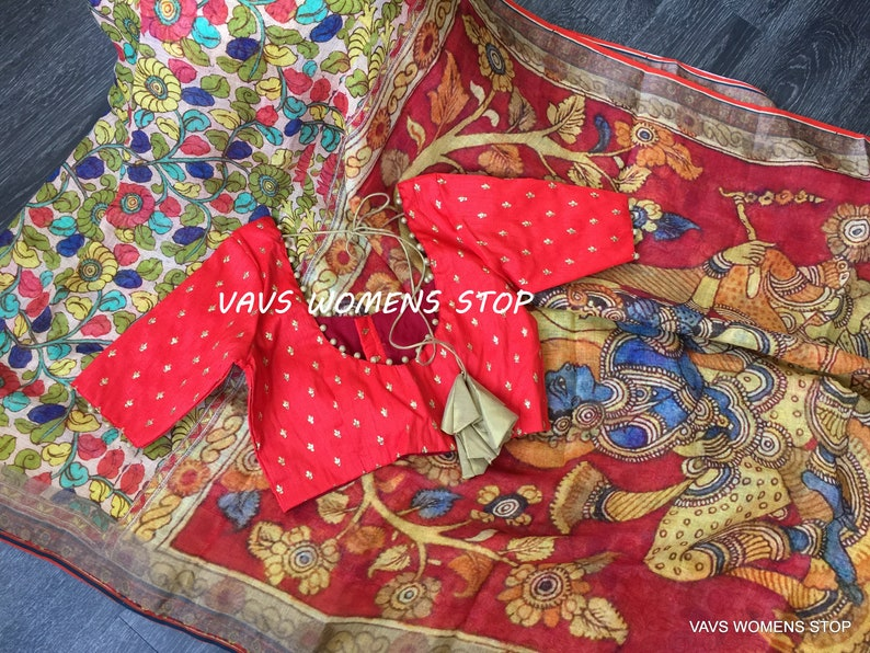 Ready To Wear !!! Kalamkari Digital Prints Pure Linen By Linen Saree With Customized Matching Blouse Size 36 extends to 42 !!!