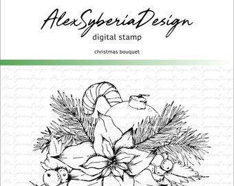 Christmas Bouquet Digi Stamp Set AlexSyberiaDesign, Digistamps, Cardmaking, Instant Download, HandDrawn Florals, Flower Illustration