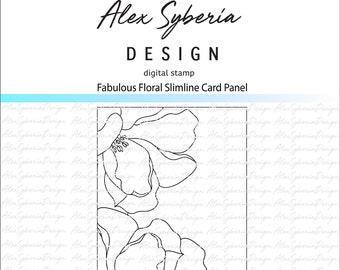 Fabulous Floral Slimline Card Panel Digi Stamp AlexSyberiaDesign, Digistamps, Cardmaking,Instant Download,HandDrawn Florals, scrapbookiing