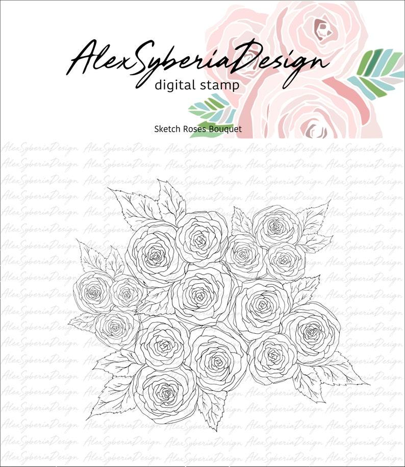 Sketched Roses Bouquet Digi Stamp-AlexSyberiaDesign image 0
