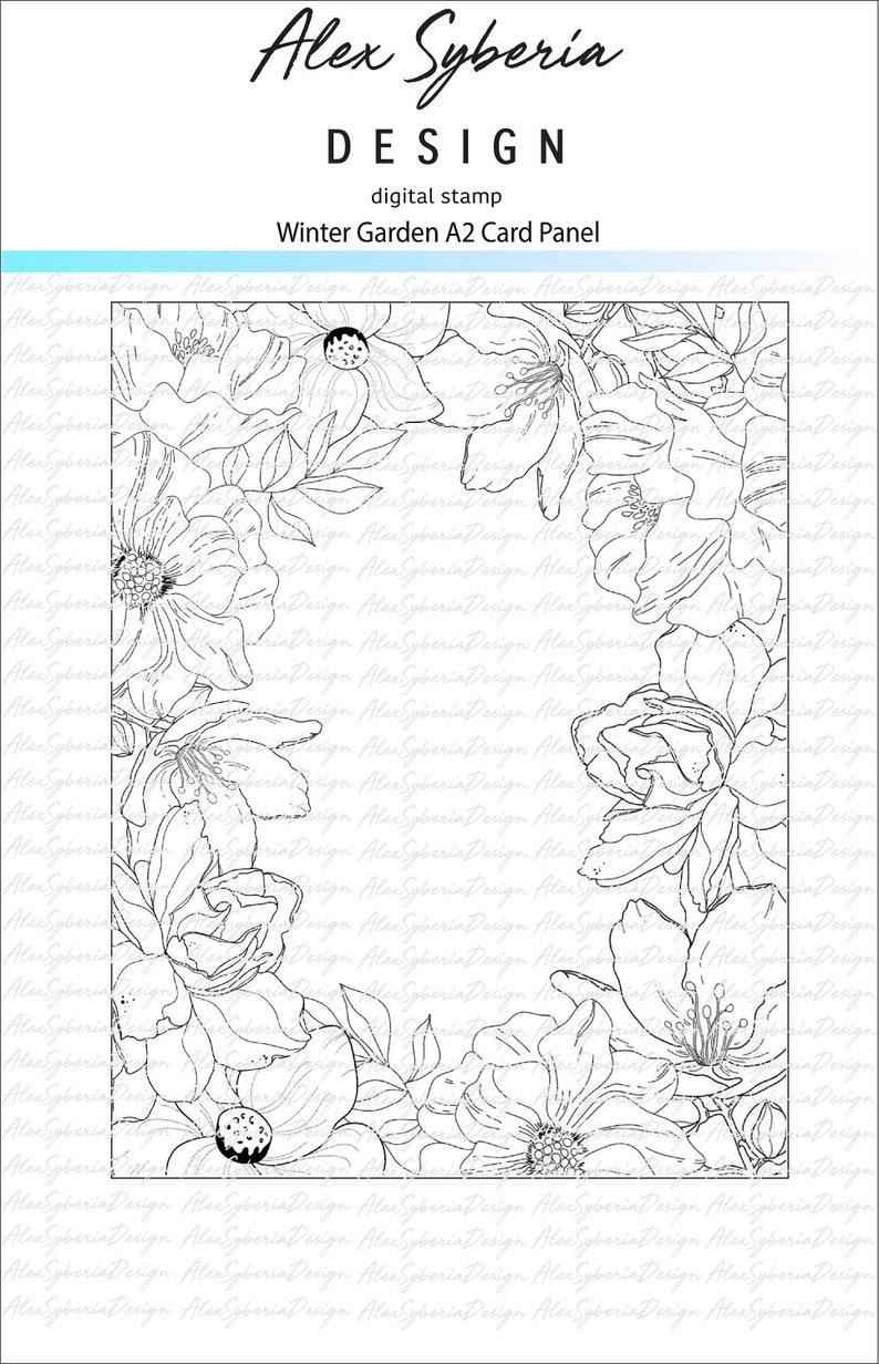Winter Garden Digi A2 Card Panel Stamp AlexSyberiaDesign image 0
