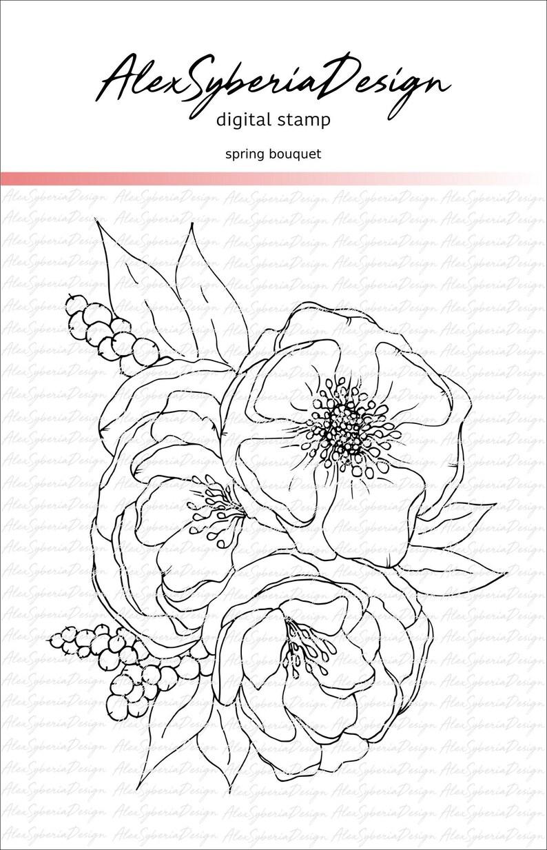 Spring Bouquet HandDrawn Digi Stamp-AlexSyberiaDesign image 0