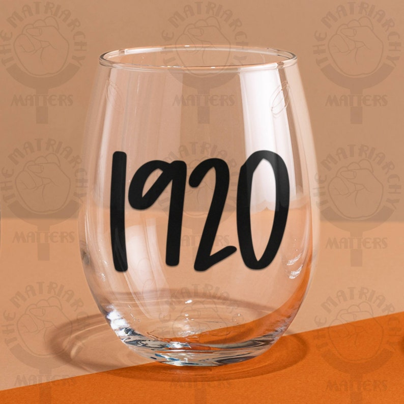 1920™ Feminist Stemless Wine Glass Wine Tumbler Feminism Gift image 0