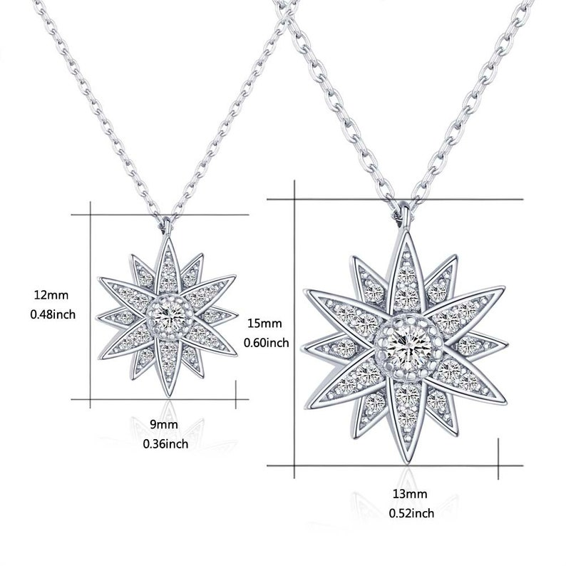 Polaris Necklace Starburst Necklace Compass Necklace Sterling Silver North Star Necklace with Cubic Zirconia