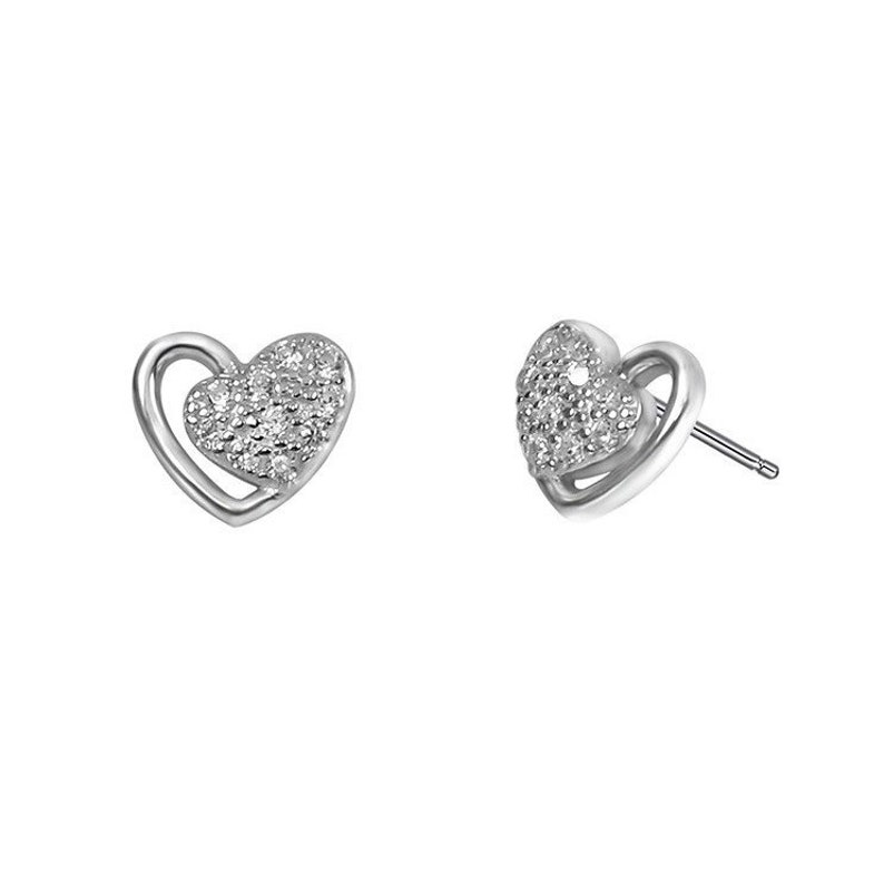 Asymmetrical Pave Heart Pair \u2013 Mom /& Daughter half framed with gentle clean heart line Asymmetrical sparkling pave heart
