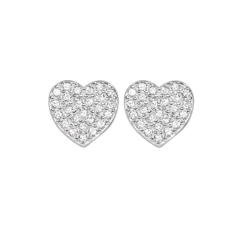 Classic Pave Heart Pair \u2013 Mom /& Daughter Solid perfect heart shaped sterling silver earring paved with sparkling cubic zirconia stones