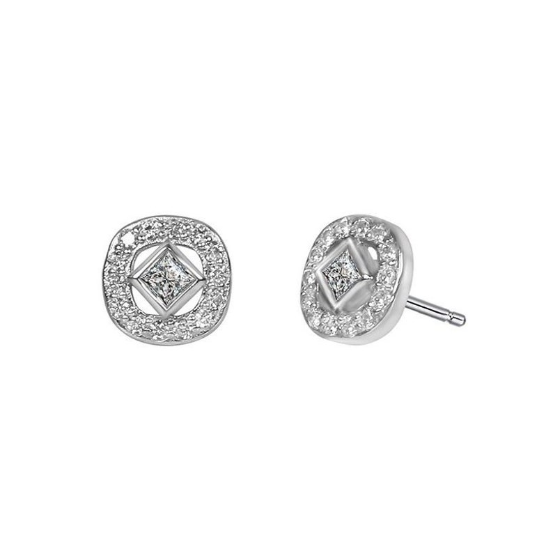 Special sterling silver studs with a square cubic zirconia inside a CZ cushion frame Cushion Shape Multi Cz Stud Pair \u2013 Mom /& Daughter