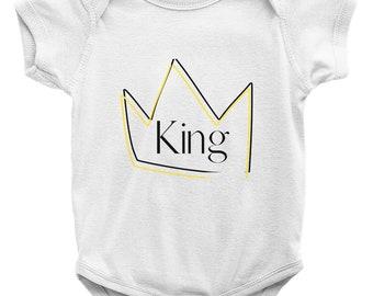 King Onesies W/Matching Bib (Sold Separately)